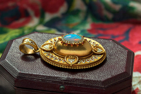 Victorian Locket with Opal, Enamel & Diamond