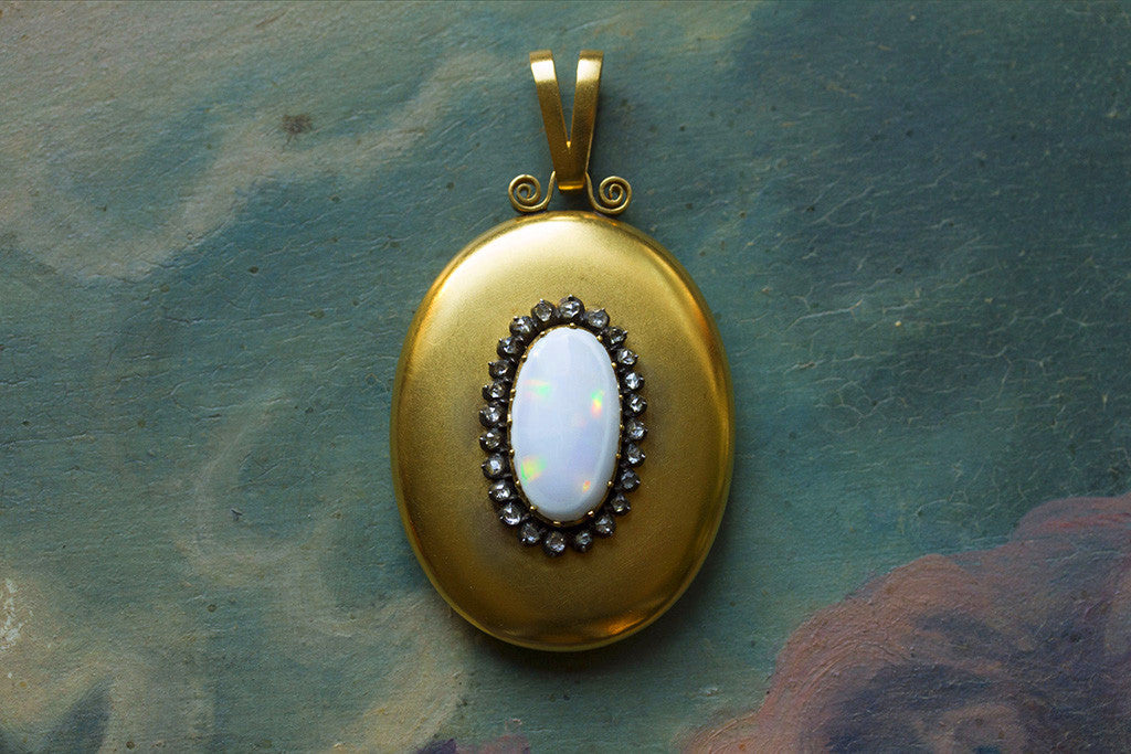 Large Victorian Opal and Diamond Locket