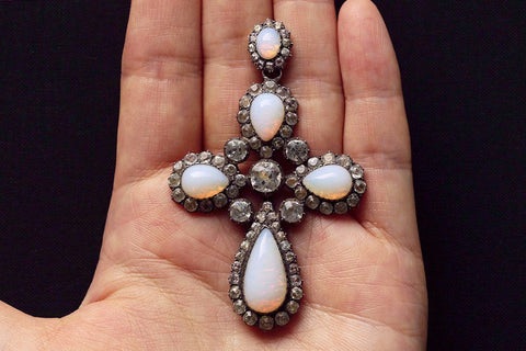 Large Opaline and Paste Cross