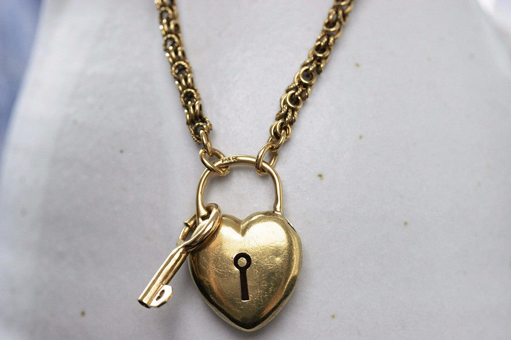 Victorian Necklace with Heart Padlock and Key