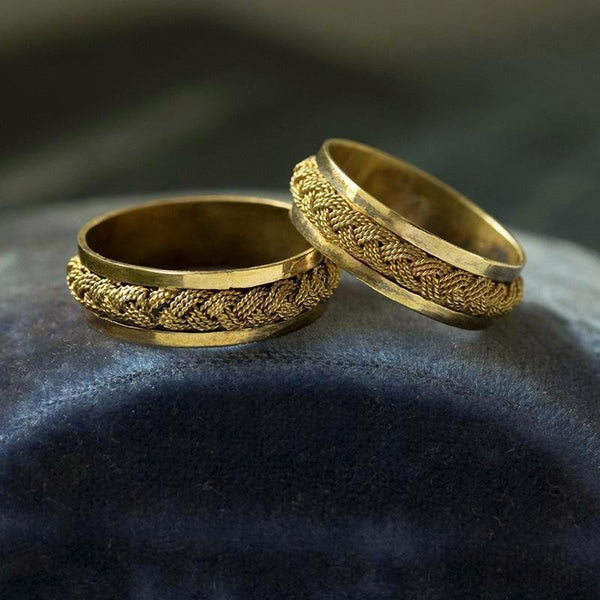 Pair of Gold Rope Rings