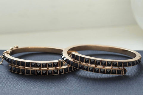 Pair of Victorian Onyx Pyramid Bangles