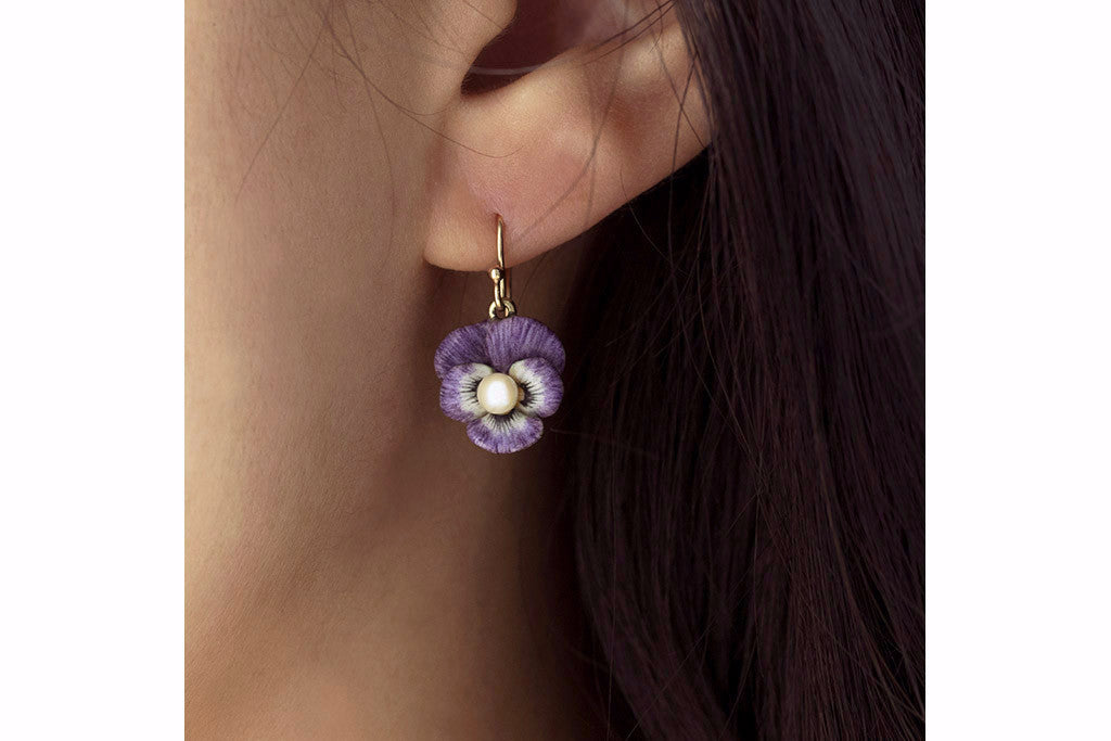Art Nouveau Purple Enamel Pansy Earrings