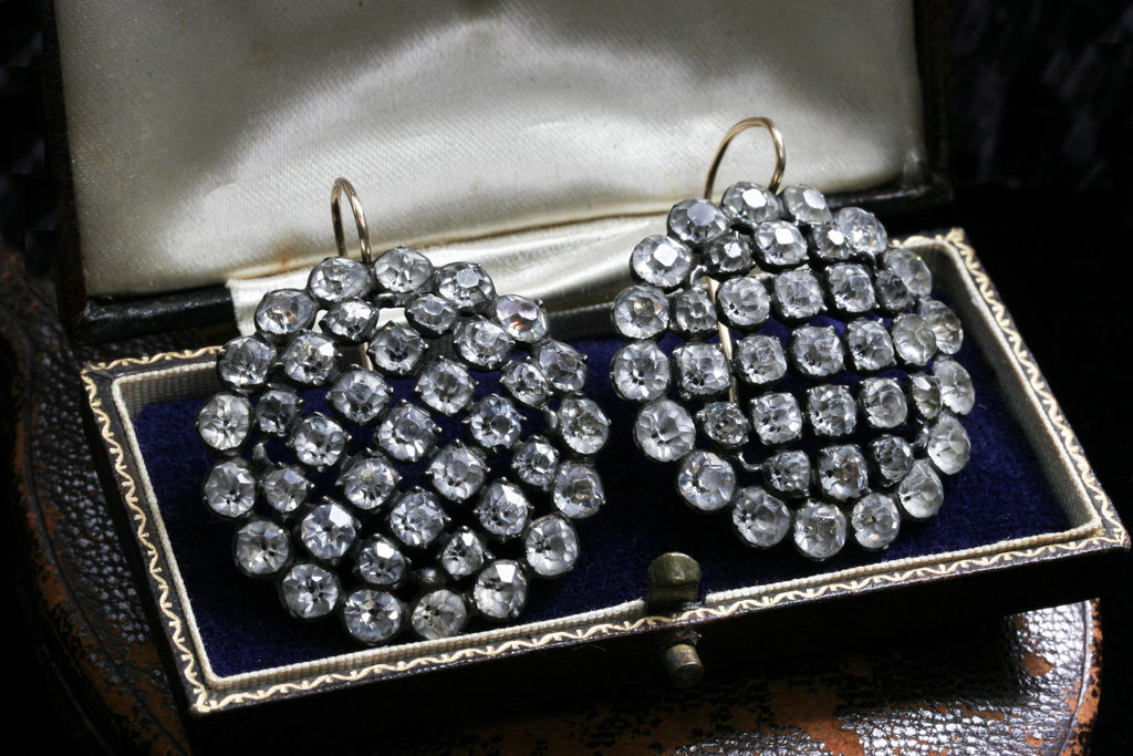 Early Victorian Large Paste Cluster Earrings