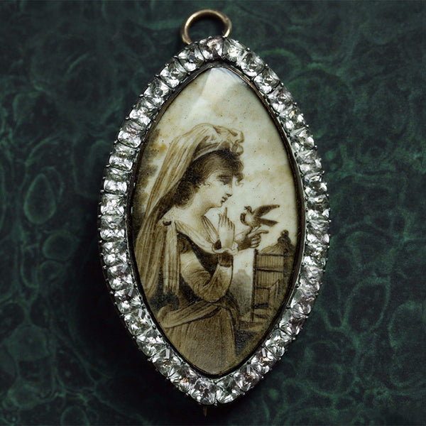 Georgian Sepia Miniature Pin/Pendant