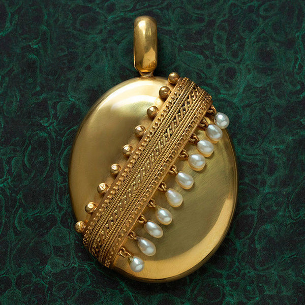 Large Victorian Pearl Fringe Locket
