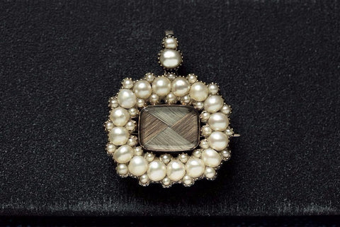 Georgian Pearl Mourning Pendant Brooch