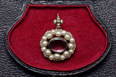 Victorian Pearl Locket Pendant and Chain