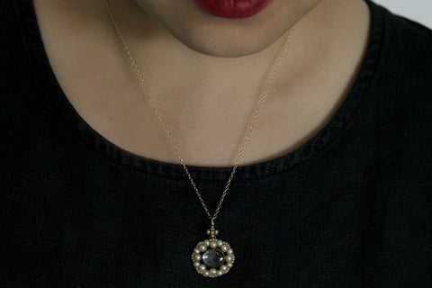 Victorian Seed Pearl Locket Pendant and Chain