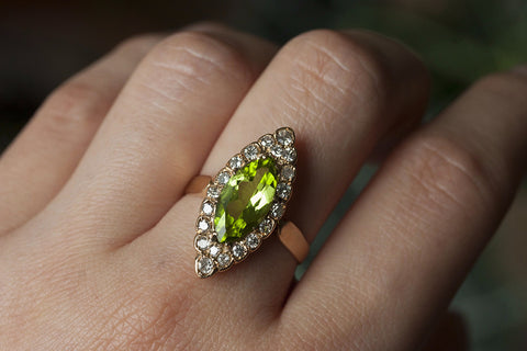 Late Victorian Peridot and Diamond Navette Ring
