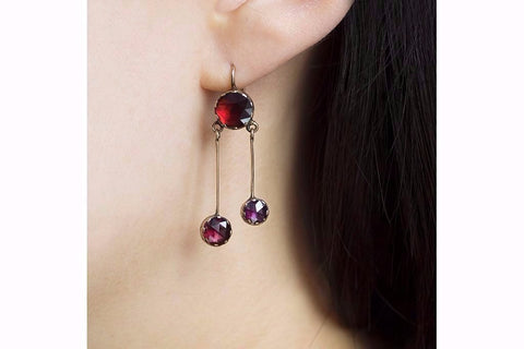 Late 19th Century Perpignan Garnet Earrings