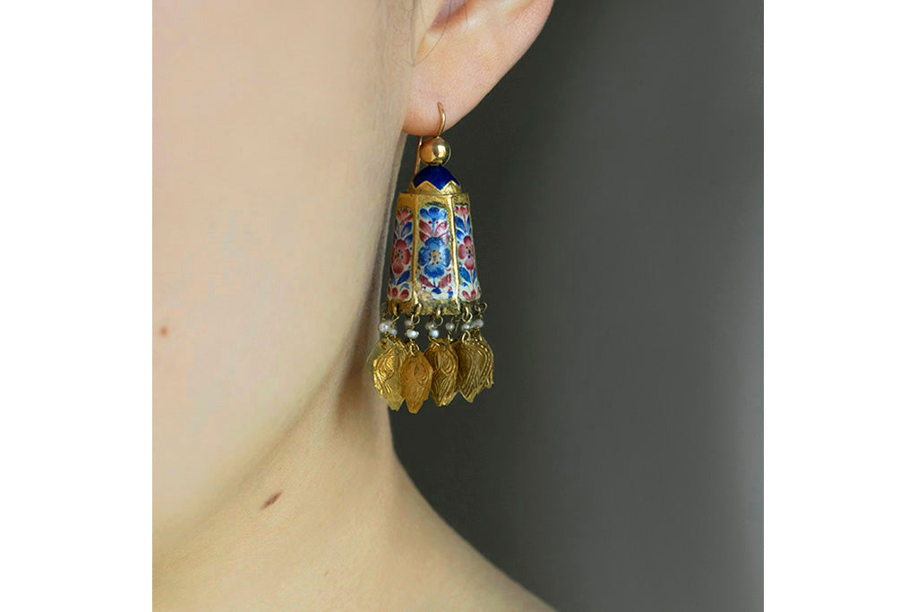 Antique Persian Gold & Enamel Earrings