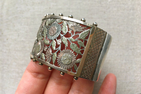Victorian Aesthetic Movement Pierced Flower Silver Bangle