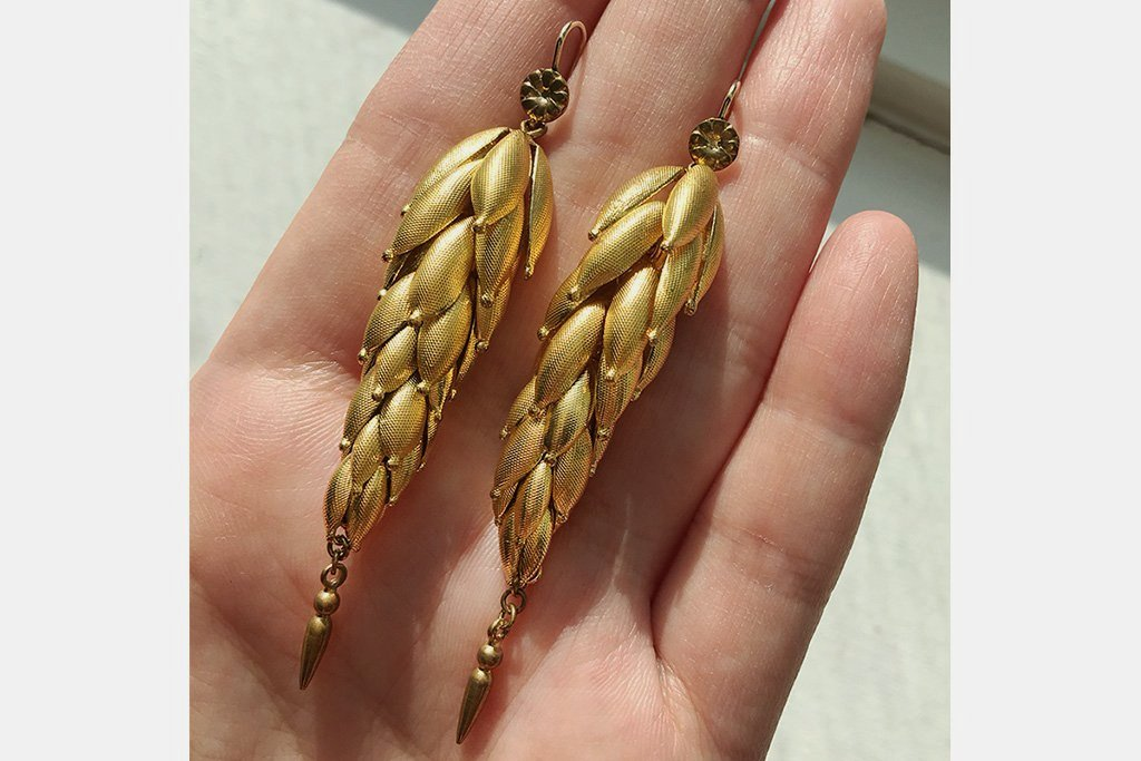Victorian Pinchbeck Drop Earrings