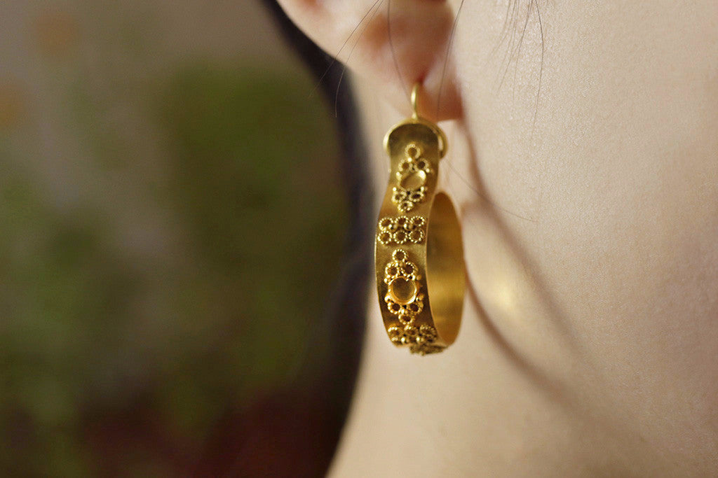 Victorian Pinchbeck Hoop Earrings