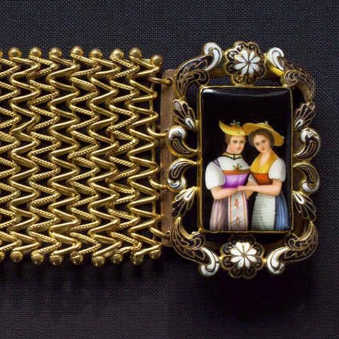 Late Georgian Pinchbeck and Swiss Enamel Bracelet