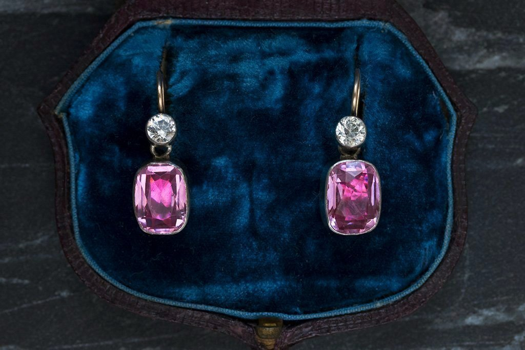 Edwardian Pink & White Paste Earrings