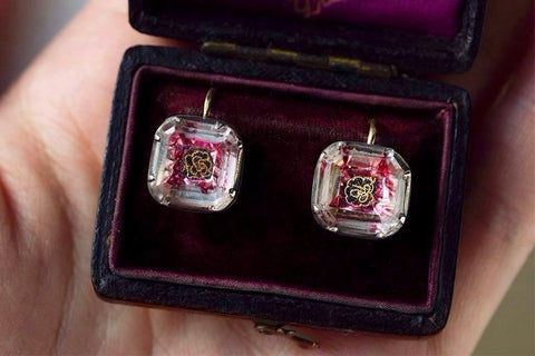 Pink Foiled Stuart Crystal Earrings