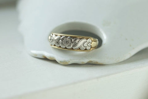 Platinum and Gold Band with Floral Details