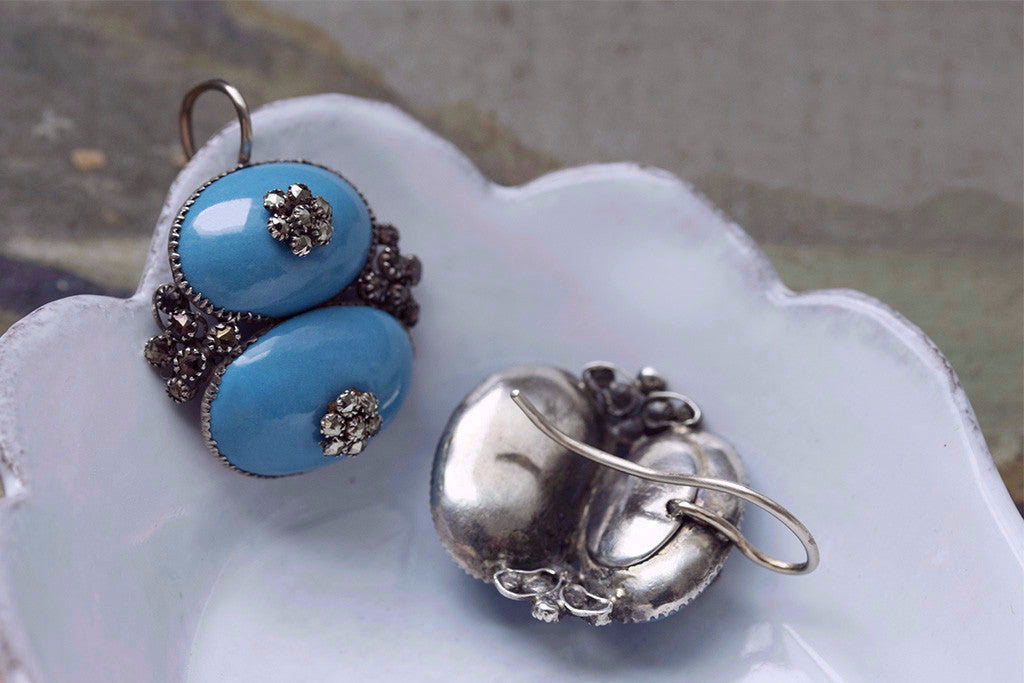 Queen Anne Enamel and Pyrite Earrings