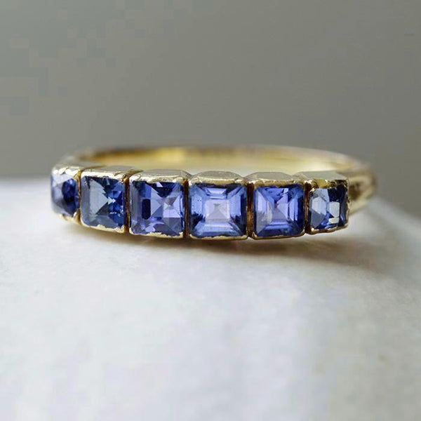 Early Victorian Sapphire Half Hoop Ring