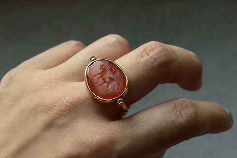 Ancient Sasanian Intaglio Swivel Ring