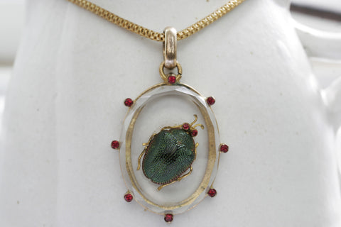 Victorian Scarab Pendant and Chain