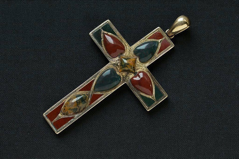 Large Scottish Agate Cross Pendant