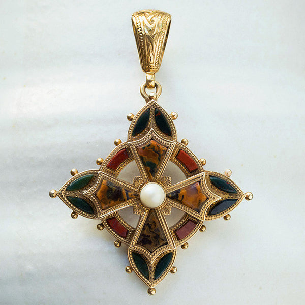 Victorian Agate and Pearl Scottish Pendant