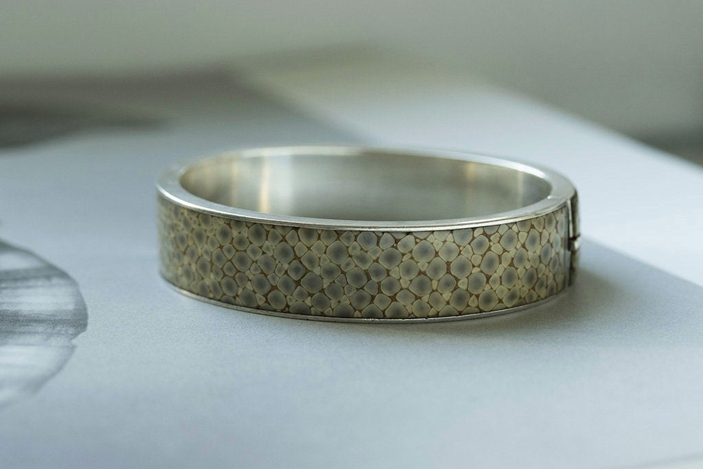 Late Victorian Shagreen Silver Bangle