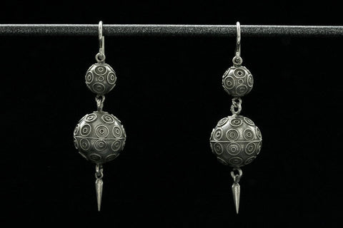 Victorian Etruscan Revival Ball Earrings