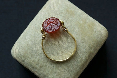 Victorian Egyptian Revival Scarab Swivel Ring