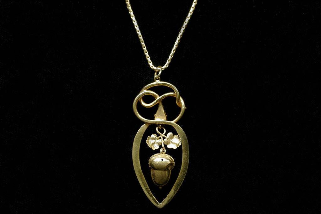 Victorian Serpent and Acorn Pendant with Chain
