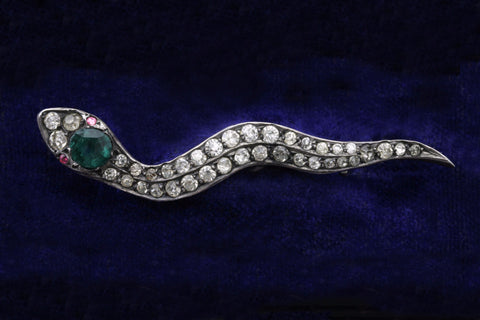 Edwardian Sterling and Paste Snake Brooch