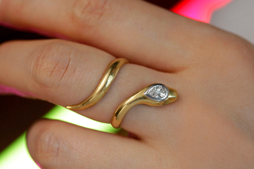 Early 20th Century Snake Ring with Diamond
