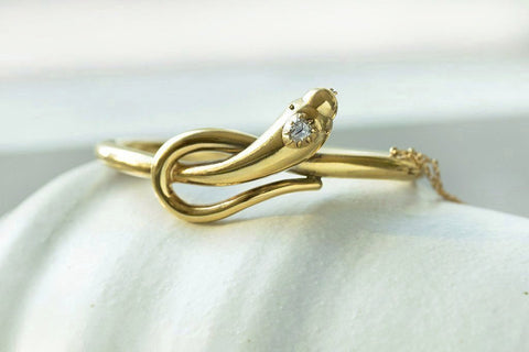 Victorian Diamond Snake Gold Bangle