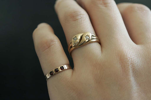 Edwardian Diamond and Gold Snake Ring