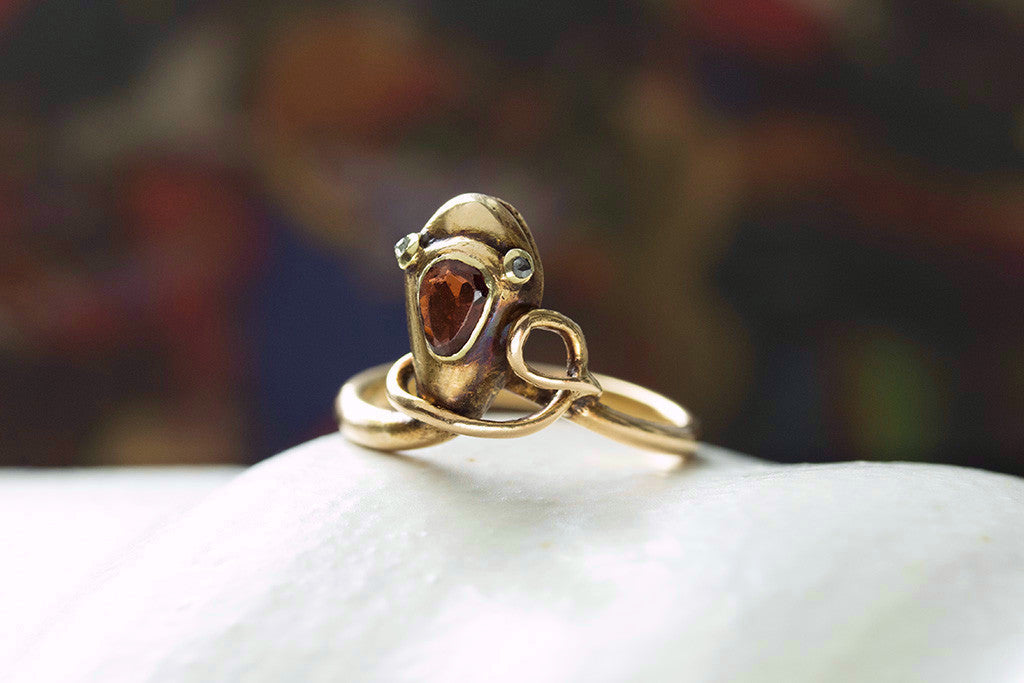 Victorian Snake Ring with Garnet and Diamond Eyes