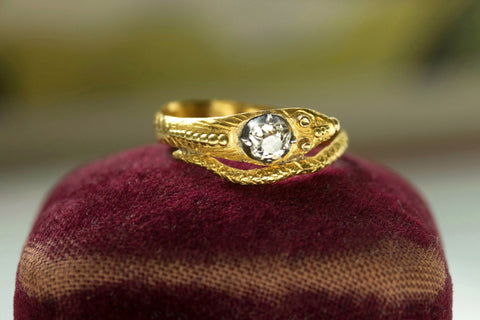 Late Georgian Snake Ring with Diamond