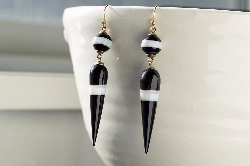 Victorian Banded Agate Drop Earrings