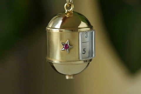 1950s Star Egg Pendant with Rolling Locket