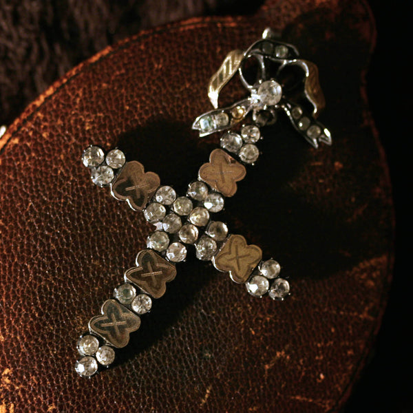 Georgian Silver and Paste Cross and Bow Pendant