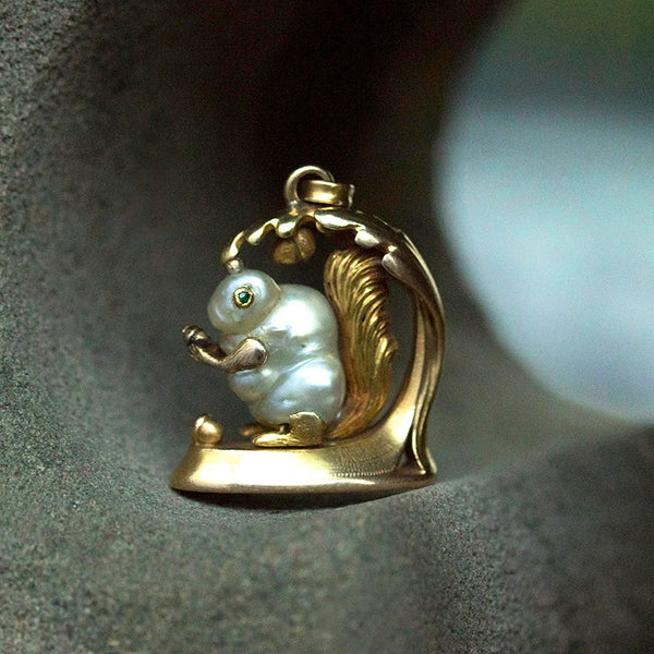 Art Nouveau Gold and Pearl Squirrel Wax Seal Pendant
