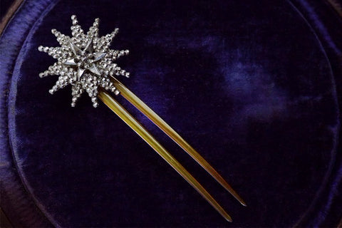 Victorian Cut Steel Starburst Hair Comb