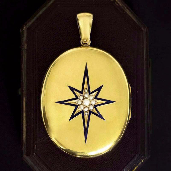 Victorian Starburst Blue Enamel Locket