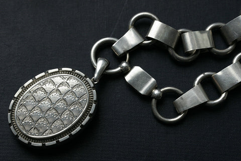 Victorian Oversized Sterling Silver Locket and Chain