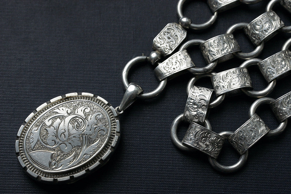 Victorian Oversized Sterling Locket and Chain