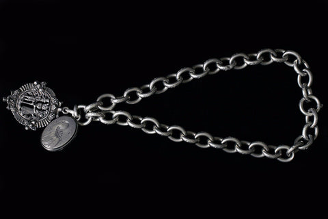Victorian Chunky Sterling Chain with Locket and Pendant