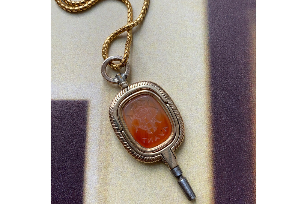 Victorian Carnelian Swivel Watch Key Pendant