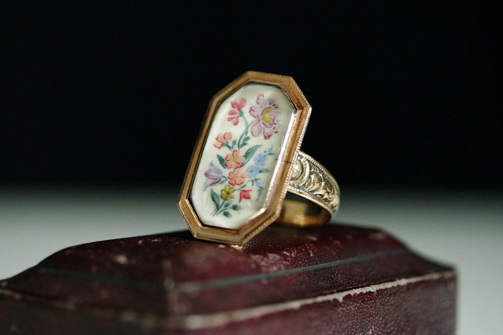 Georgian Flower Bouquet Tableau Ring